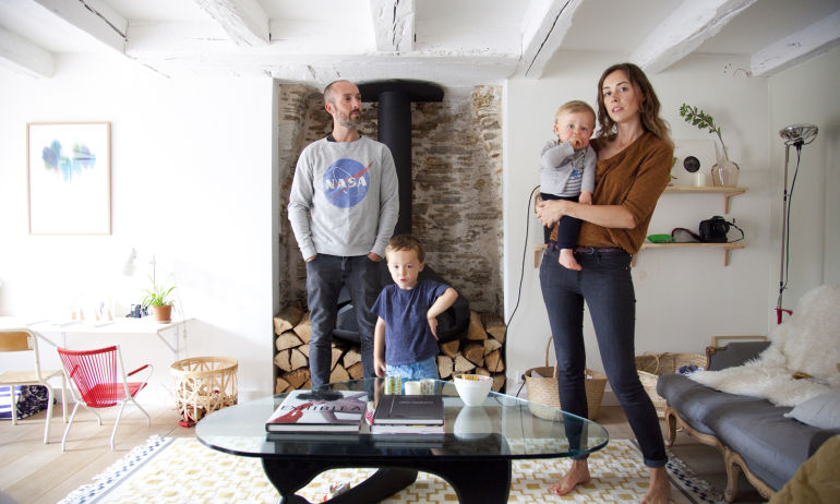 Delphine Imbert and Nicolas, Valentin 4 years old and Gustave 15 months