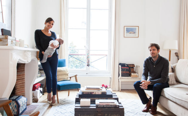 Morgane Sézalory and Thibault,<br/>Nina 4 months