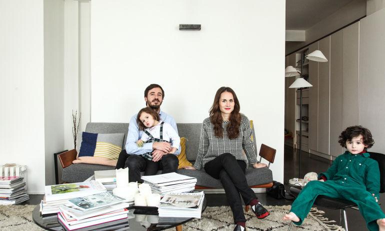 Constance Gennari et Laurent, <br>Achille 5 ans et Brune 3 ans