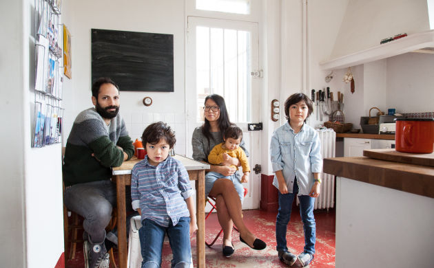 Guillaume and Aline, <br> Gaspard 6, Aristide 5 and Augustin 1 year old