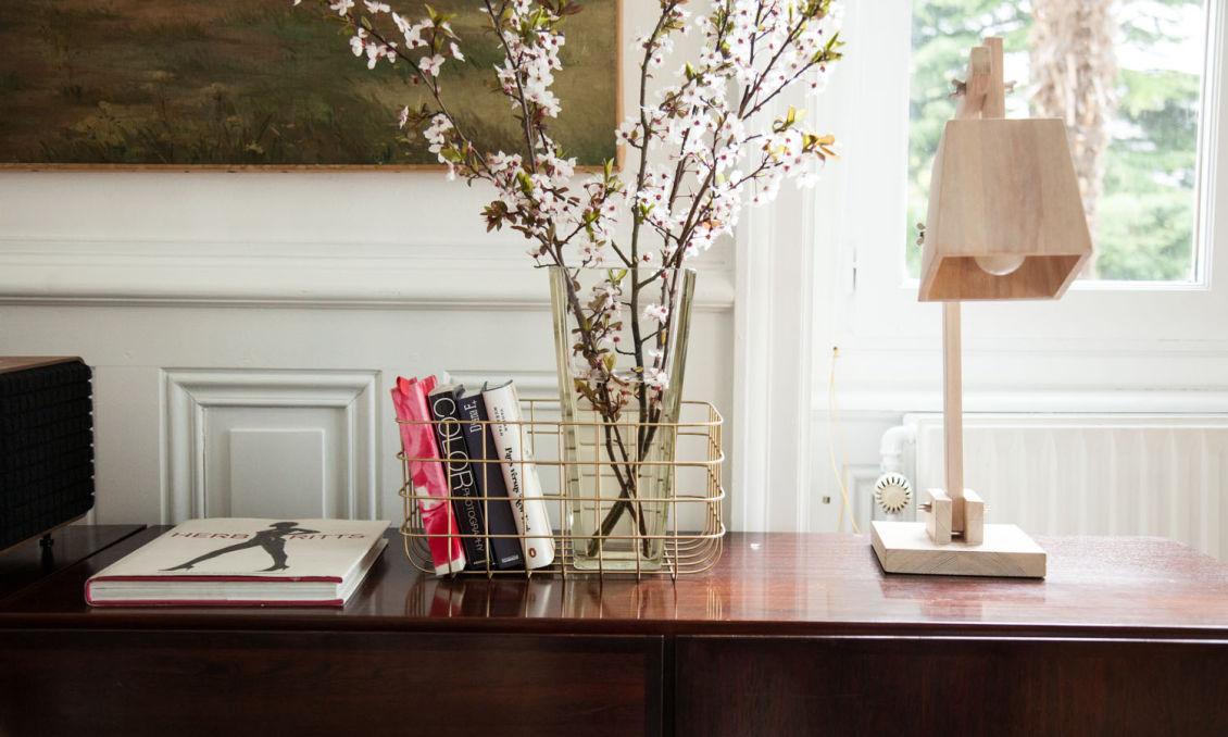 Déco console branches fleuries fleurs de cerisier marine palayer lyon
