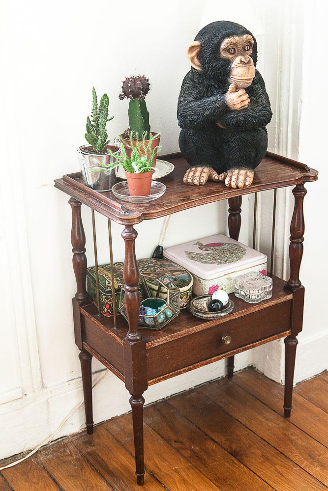 Desserte Bois Vintage Bibelots Sculpture Singe Plantes Cactus The Pirouettes