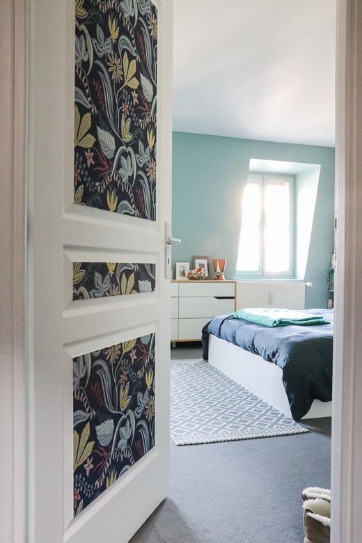 Chambre Aperçu Papier Peint Fleur Peinture Bleue Déco Appartement Gabriella Toscan du Plantier