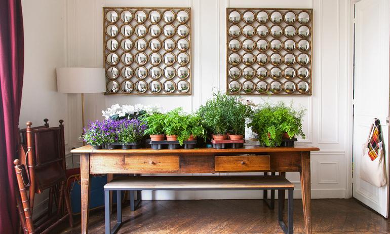 Bureau Vintage Bois Miroirs Anciens Plantes Appartement Boutique Marion Audier