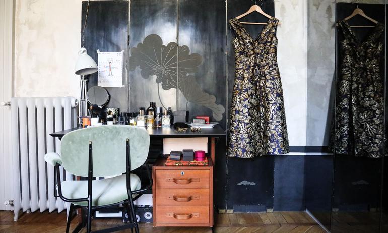 Bureau vintage Dressing Chambre Barbara Ghidoni Architecte Appartement Milan