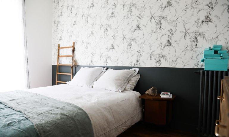 Chambre Papier peint Appartement Neuilly Amélie Colombet