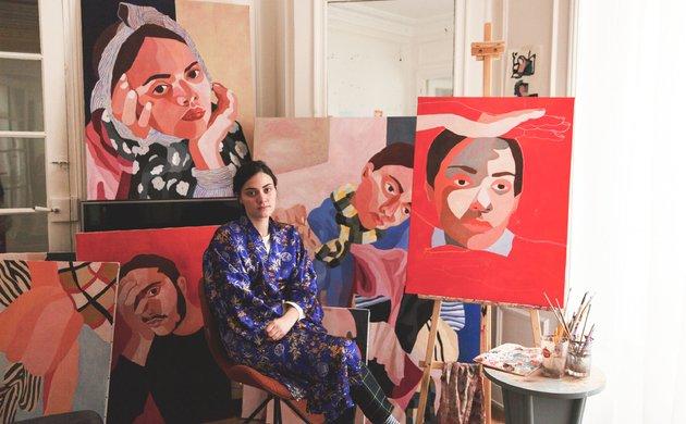 Portrait Salon Appartement Peintures Inès Longevial Parisl