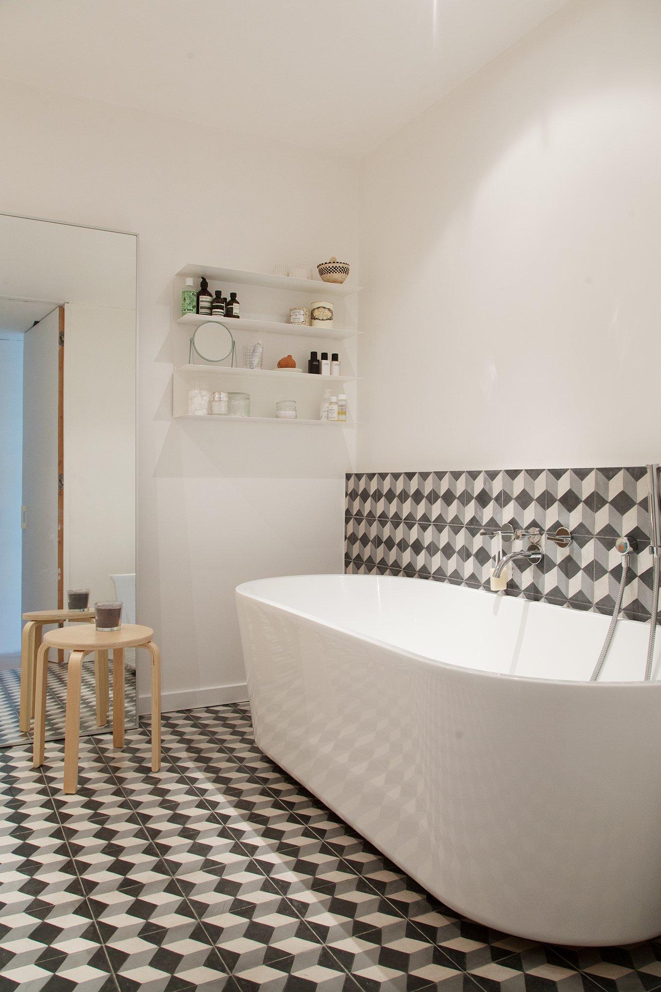 Salle de bain Carreaux ciments Architecte Laura Ruiz Fernandez Bruxelles