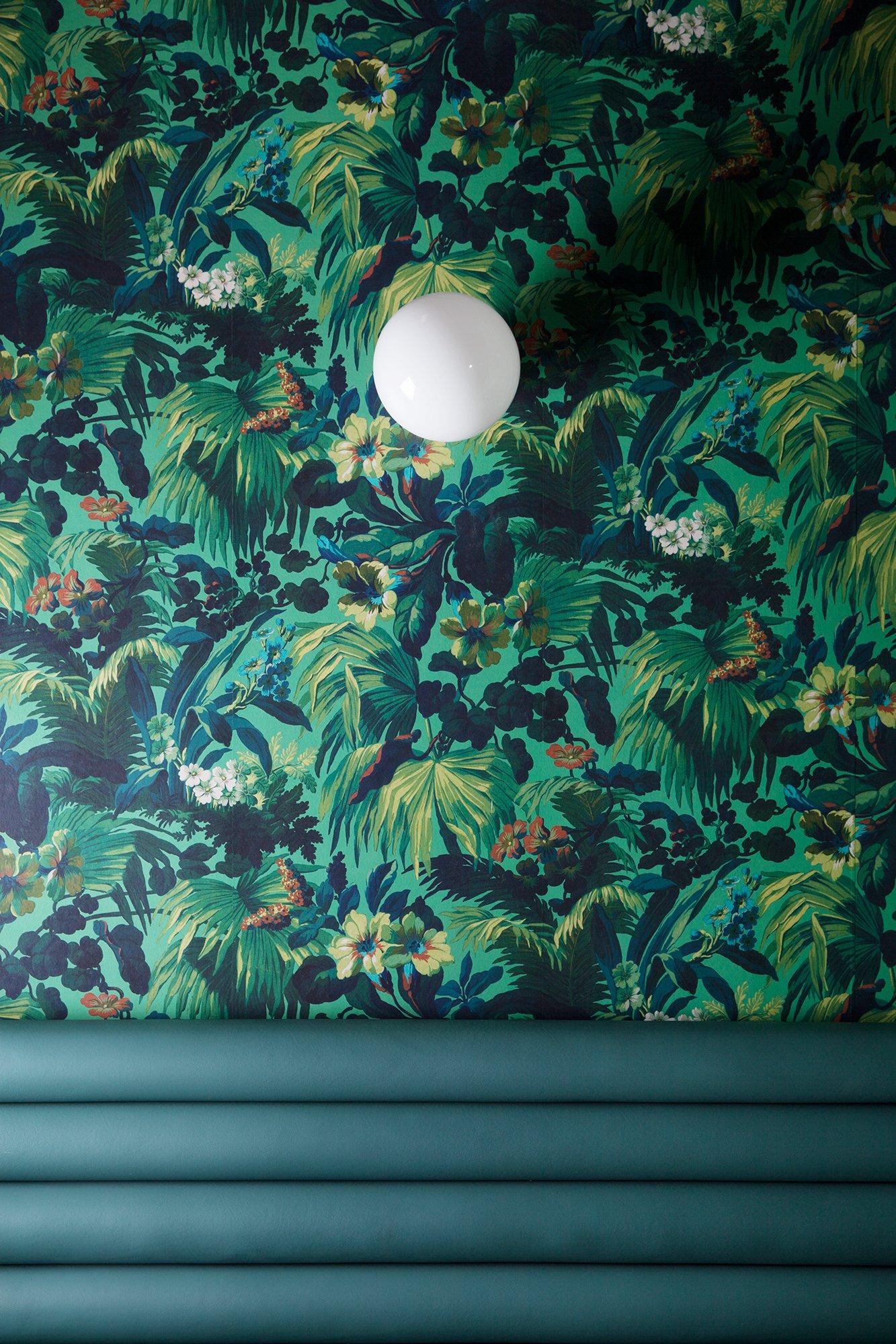 Mur salle papier-peint jungle vert BAM Karaoké Parmentier Décoration Paris