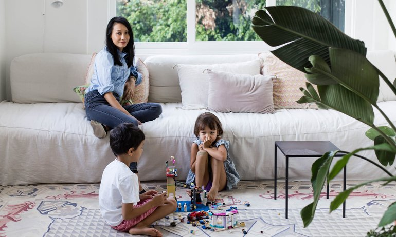 Gillian Khaw, Toby 7 and Eve 5 years old