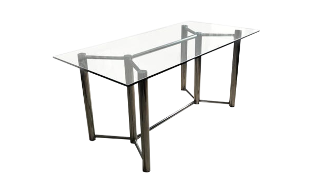 Roche Bobois 1970 Glass And Chrome Table