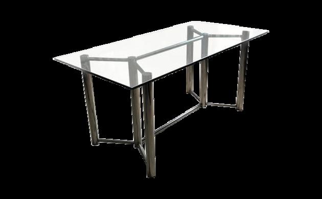 Table chrome et verre Roche Bobois 1970