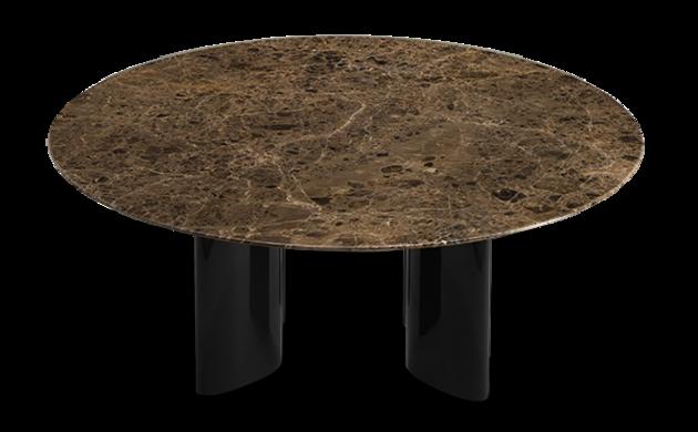 Table basse Carlotta pieds laqués noir et marbre marron