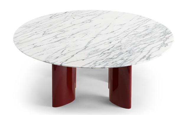 Carlotta Coffee Table, White Marble Top and Red Legs