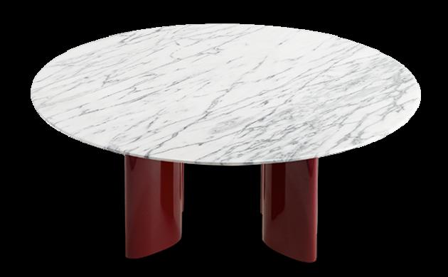Table basse Carlotta pieds laqués rouge et marbre blanc