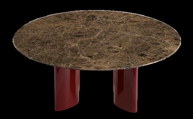 Table basse Carlotta pieds laqués rouge et marbre marron