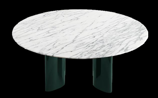 Table basse Carlotta pieds laqués vert et marbre blanc