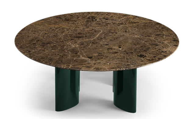 Carlotta Coffee Table, Brown Marble Top and Green Legs