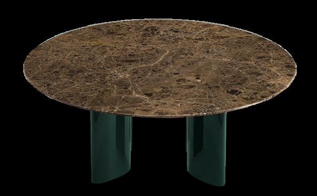 Table basse Carlotta pieds laqués vert et marbre marron