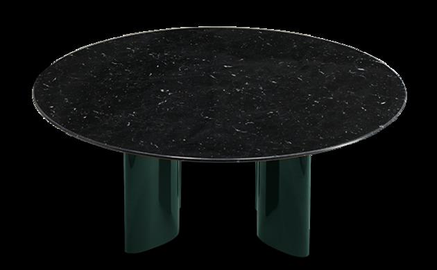Table basse Carlotta pieds laqués vert et marbre noir