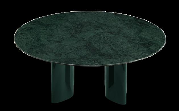 Table basse Carlotta pieds laqués vert et marbre vert