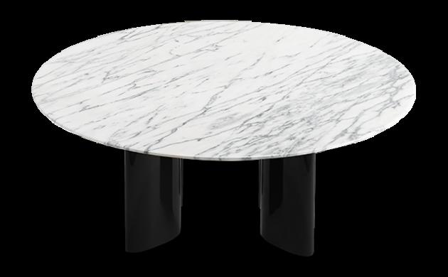 Table basse Carlotta pieds laqués noir et marbre blanc