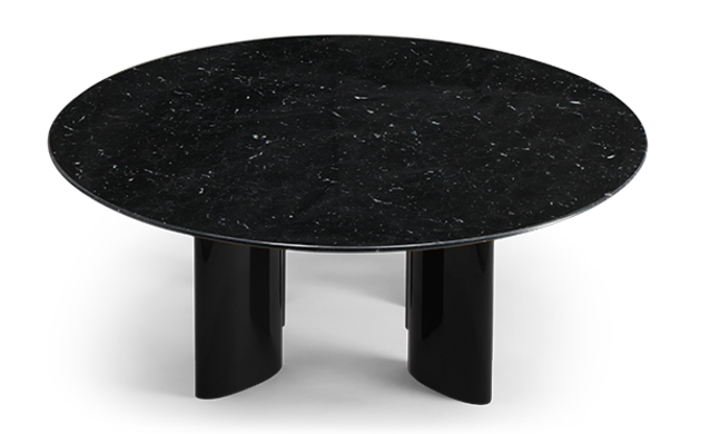Carlotta Coffee Table, Black Marble Top and Black Legs