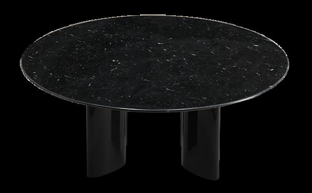Table basse Carlotta pieds laqués noir et marbre noir