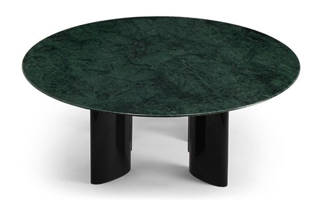 Carlotta Coffee Table, Green Marble Top and Black Legs
