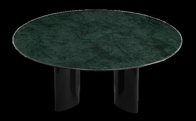 Table basse Carlotta pieds laqués noir et marbre vert