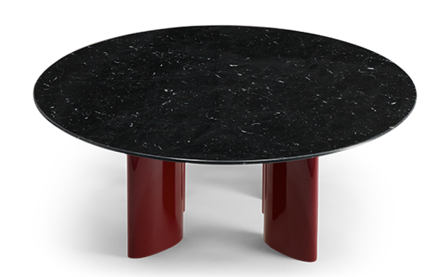 Carlotta Coffee Table, Black Marble Top and Red Legs