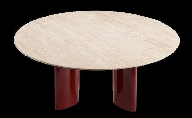 Table basse Carlotta pieds laqués rouge et travertin