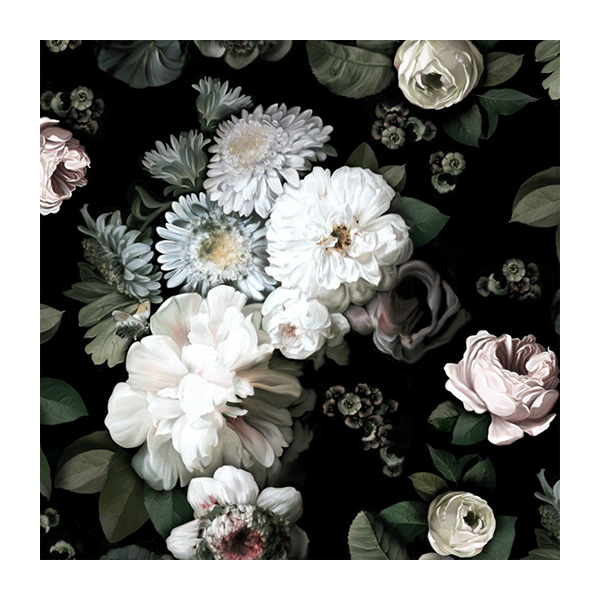 Dark Floral Wallpaper by Ellie Cashman