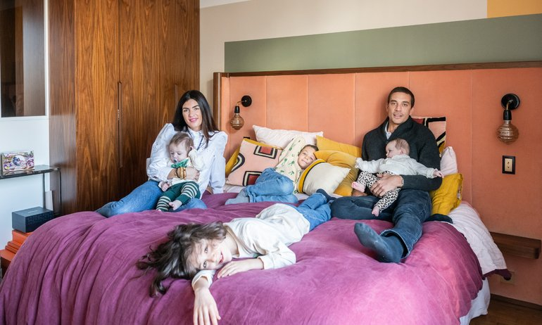 Ornella and Samuel Abouaf, <br>Lenny 8, Roman 7 years old, <br> Abbie, Andrea 8 months old