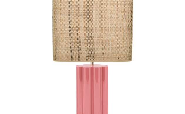 Gioia Table Lamp, Pink and Rattan
