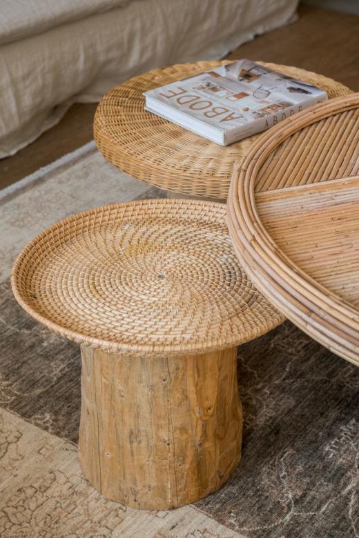 Table basse en rotin tressé chez Maison Acacia à La Ciotat