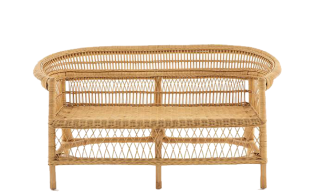 Woven Rattan Bench